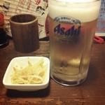 やきとり倶楽部 - 生ビール(半額220円)