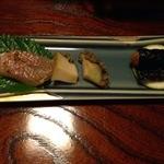 てつ虎 - 前菜3種(アマダイ白焼き、蒸とこぶし、やまいも磯辺巻き揚げ)