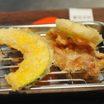 博多天ぷら たかお - かぼちゃ、豚肉、レンコン