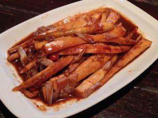 台湾料理 五味香 - 炒剣筍。姫竹の辛味噌炒め。