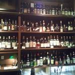 BAR 水田屋 - バーカウンターの前にはズラリ洋酒のボトルが並び、グラスがライトアップされて陳列されている。