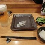 鉄板神社 - 生ビールとお通し