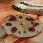 鉄板神社 - レンコン肉詰