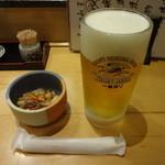 すし遊洛 - お通し:200円、生ビール