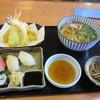 たぬき庵 - 料理写真:日替わり寿司ランチはお寿司と天婦羅とうどんと小鉢のセットで780円です。