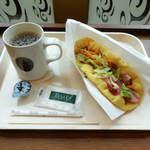 タリーズコーヒー - ...「Aセット/ベジピッツァ トマトバジル+ホットコーヒー(730円)」、たけー!モスバーガーのナンの勝ち!