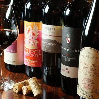 200種類以上のイタリアワインを取り揃えております。
