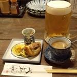 21768004 - 『生ビール』と『お通し』(おばんざい3種とお芋のミニポタージュスープ)~♪(^o^)丿