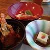 鳥羽グランドホテル - 料理写真:伊勢海老の煮物?に味噌汁。胡麻豆腐。エビは小ぶりです。お味噌汁は赤みそでした。