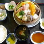 ゆけむり茶屋 - ゆけむり定食 ¥1200(入浴代込み) かご蒸しの内容は、その日によって変わります。