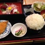 築地さかな一番 - 刺身定食¥680 御飯昔話もり