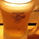 ウドンスタンド五頭 - プレミアムモルツ生ビール500円は3周年記念で無料です!