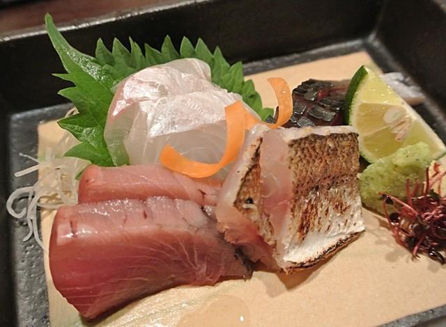 和み庵 篤屋 - お造り(あぶりカマス・カツオ・しめ鯖・鯛)