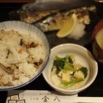 金八 - さんま塩焼きと混ぜご飯