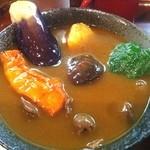 そば処寿庵 - 素揚げした野菜はスープカレー?