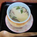 笹寿し - 茶碗蒸し。小さめながら鶏肉などの具材がたくださん。