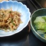 新日本料理 美正 - 小鉢のお浸しと漬け物