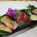 さつま料理 よ田屋 - 「新、地鶏の刺身3種盛り!」めずらしか~砂ずり。