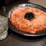 鶴龍 - 明太子のチヂミ。もちもちしていて本当に美味しかったです。