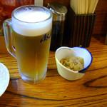 21823687 - クーポンで315円になった生ビールとビールより高いお通し336円