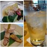 21824494 - ◆梅酒のソーダ割りで乾杯!                       ◆焼きナスのサラダ                       ◆鶏のスモーク、鰆のみそ焼きと何だったかな?