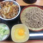 そば処 吉野家 - 牛丼:並(ねぎ沢・汁無し)+もり蕎麦+玉子