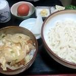 さぬきうどん桐山 - カツ丼&釜玉うどん