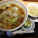 昭和軒 - 肉野菜炒め入りラーメン+ミニ炒飯セット750円