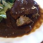 レストランれむの巣 - 挽き具合は細かい デミグラスソースはしっかりとした味
