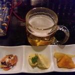 恭恭 - お通し三品と生ビール