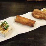 華麗なるカレー - おまかせ3品盛(700円)のバジル豆腐、春巻、豚角煮
