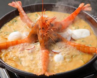 もりもり - 有頭海老と生蛸の自家製葱味味噌焼き