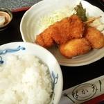 なかえ - カニクリームコロッケと串カツランチ