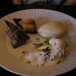 希須林 - 大海老のマヨネーズソース、中華蒸しパン、二種点心