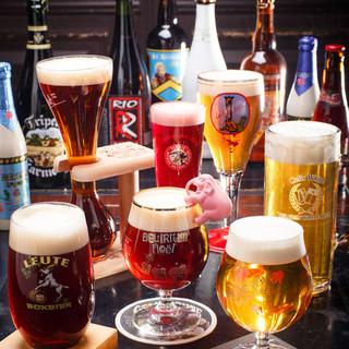 直輸入樽生ベルギービール、直輸入ワインに加えその他70種以上