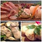 健心流 旬 - お造りも牡蠣も本格的。 挙句にメニューに無いフグの白子焼きを頂きました。  歌舞伎町2丁目にこんな店があったなんて驚きです。  予約なしでは入れないお店。 お本当にオススメのお店ですo(^▽^)o