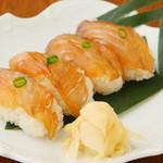 ロジエ - 伊豆大島産、青唐辛子のづけ醤油に白身魚をつけたべっこう寿司