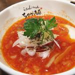ちゃが商店 - 完熟トマトつけ麺850円。 女子っぽいビジュアルのつけスープ。