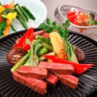 つつじの茶屋 - 国産牛のフィレ肉を使用したステーキコース