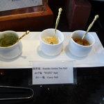 カフェトスカ - 串揚げを雪塩、抹茶塩、ゆず塩、カレー塩でいただきます。