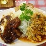 横浜中華街 福養軒 - 日替り盛り合わせランチ735円豚肉の黒豆煮、海老と玉子のチリソース、海老の巻揚げ