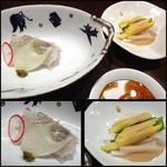 風乃音 - 平目のお刺身(二切れ)、野菜サラダの胡麻ドレッシングかけ・・平目は普通に美味しいかな。 お野菜は見た目通りです。