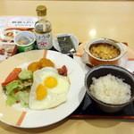 ジョナサン - 目玉焼きモーニングセット(598円)+納豆(94円)+オニオングラタンスープ(147円)