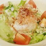 ワインハウス サノヤ - パスタランチ<\1,050>(豆腐サラダのアップ、2013年9月)