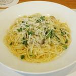 ワインハウス サノヤ - パスタランチ<\1,050>(じゃこと水菜のペペロンチーノ、2013年9月)