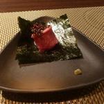 朱藏 - ウニと牛タタキの海苔巻