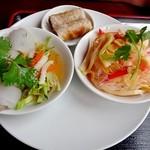フォー ベト レストラン - 色鮮やかなランチコースの料理(蒸し春巻き・揚げ春巻き・春雨サラダ)