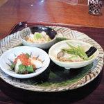 志蕎庵 江月 - 吟酒膳のおつまみ三種