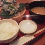 まるさ水産 - 選べるお刺身三種盛り定食