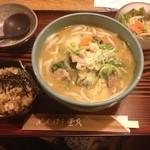 めんぼう壱久 - 味噌ちゃんぽんうどん 炊き込みご飯セット 1150円